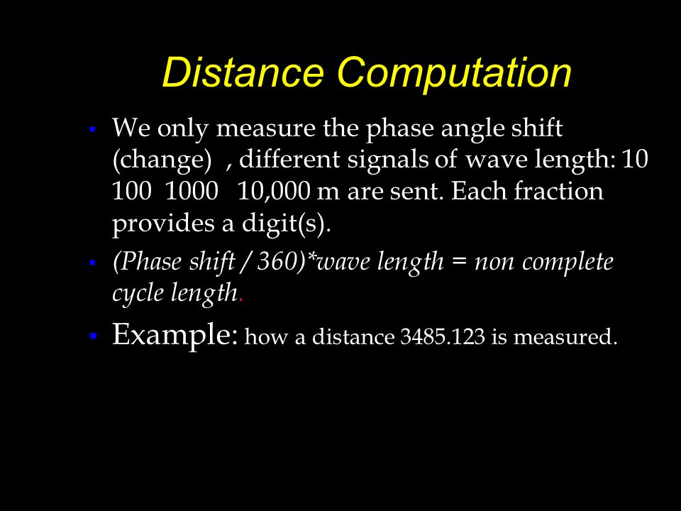 Distance Computation Example: how a distance 3485.123 is measured.