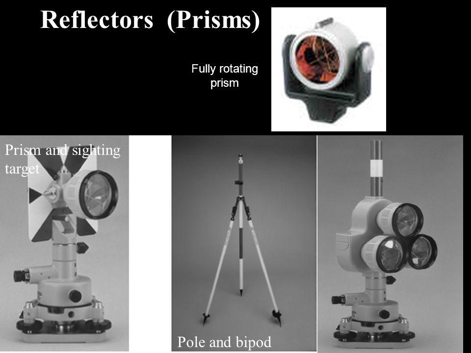 Reflectors (Prisms) Prism and sighting target Pole and bipod