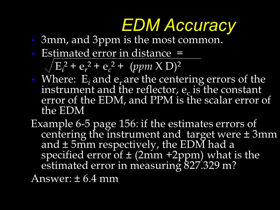 EDM Accuracy 3mm, and 3ppm is the most common.