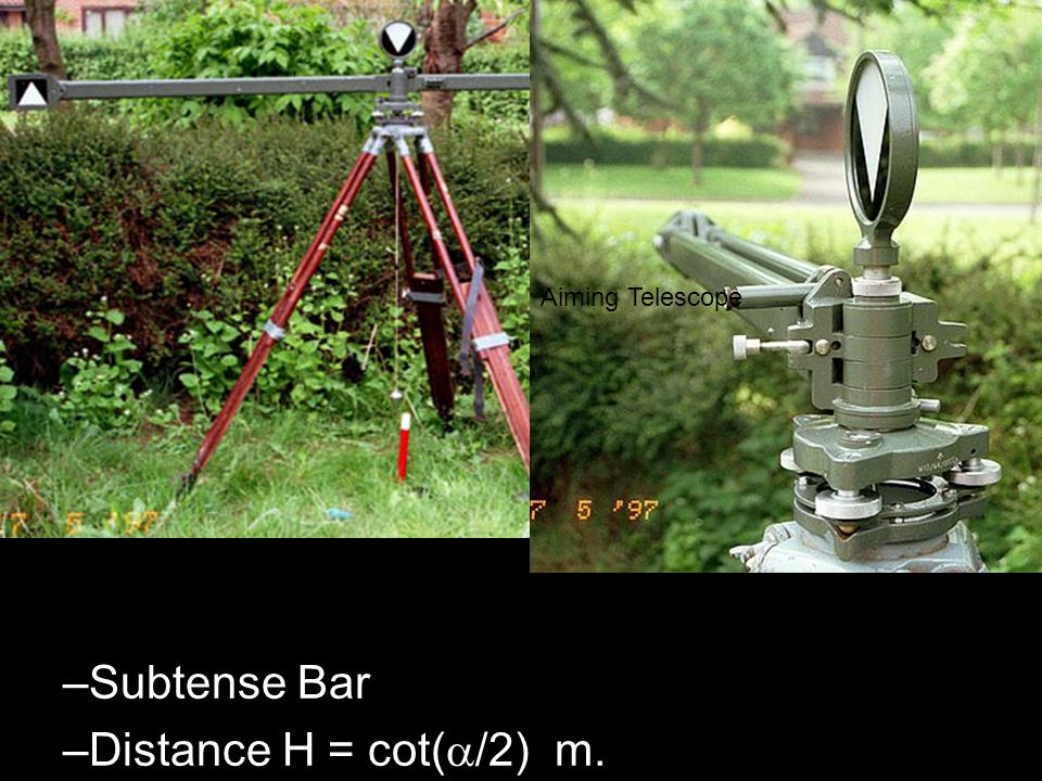 Aiming Telescope Subtense Bar Distance H = cot(/2) m.