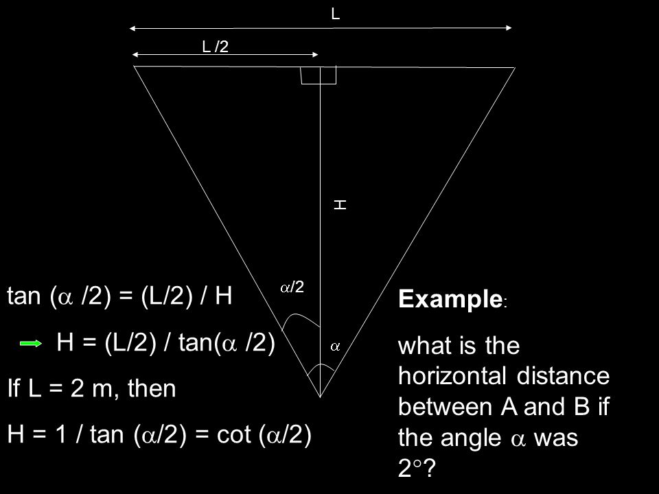 what is the horizontal distance between A and B if the angle  was 2