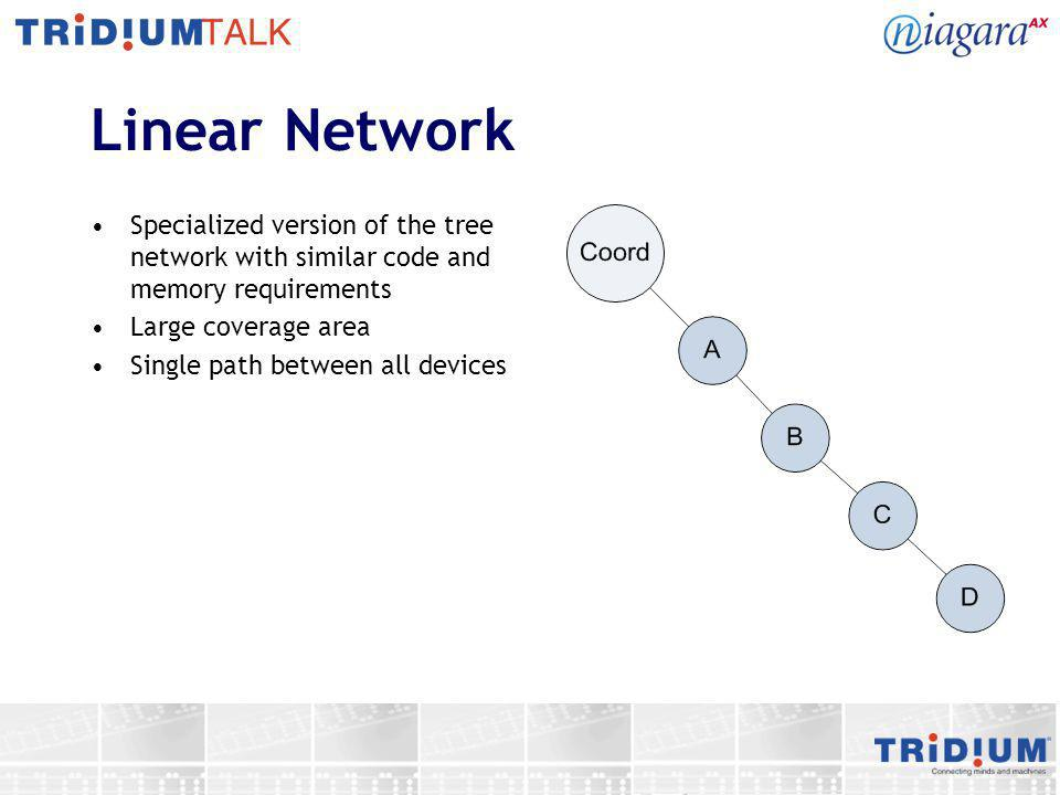 Linear Network Specialized version of the tree network with similar code and memory requirements. Large coverage area.