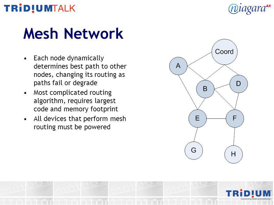 Mesh Network Each node dynamically determines best path to other nodes, changing its routing as paths fail or degrade.