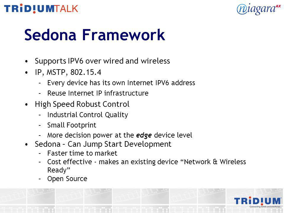 Sedona Framework Supports IPV6 over wired and wireless