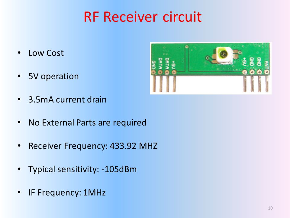 RF Receiver circuit Low Cost 5V operation 3.5mA current drain