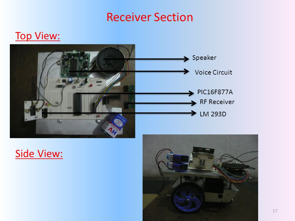 Receiver Section Top View: Side View: Speaker Voice Circuit PIC16F877A