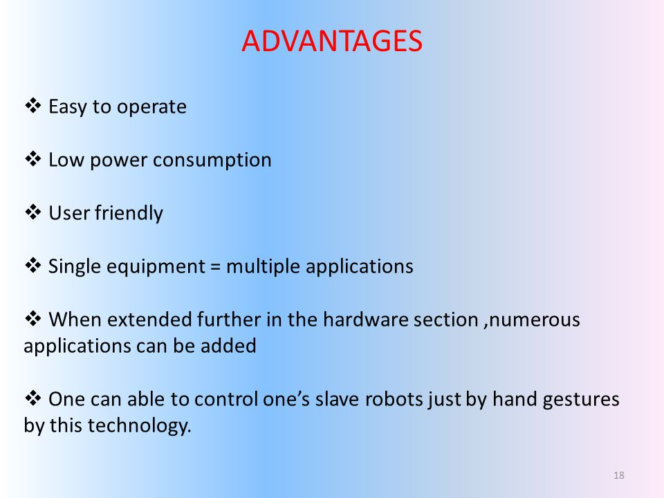 ADVANTAGES Easy to operate Low power consumption User friendly