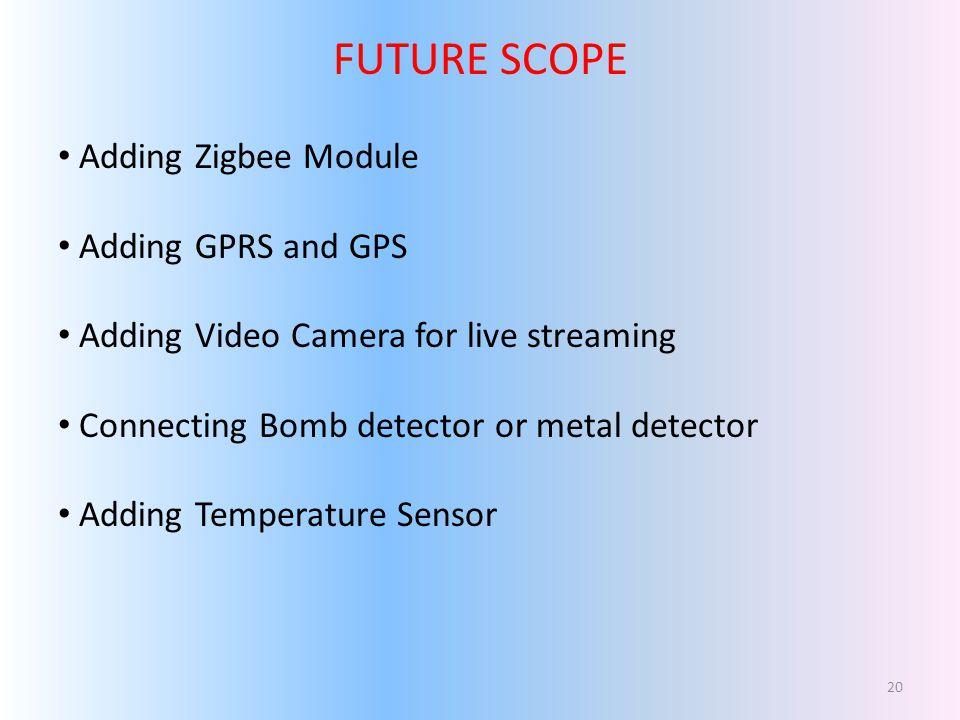 FUTURE SCOPE Adding Zigbee Module Adding GPRS and GPS