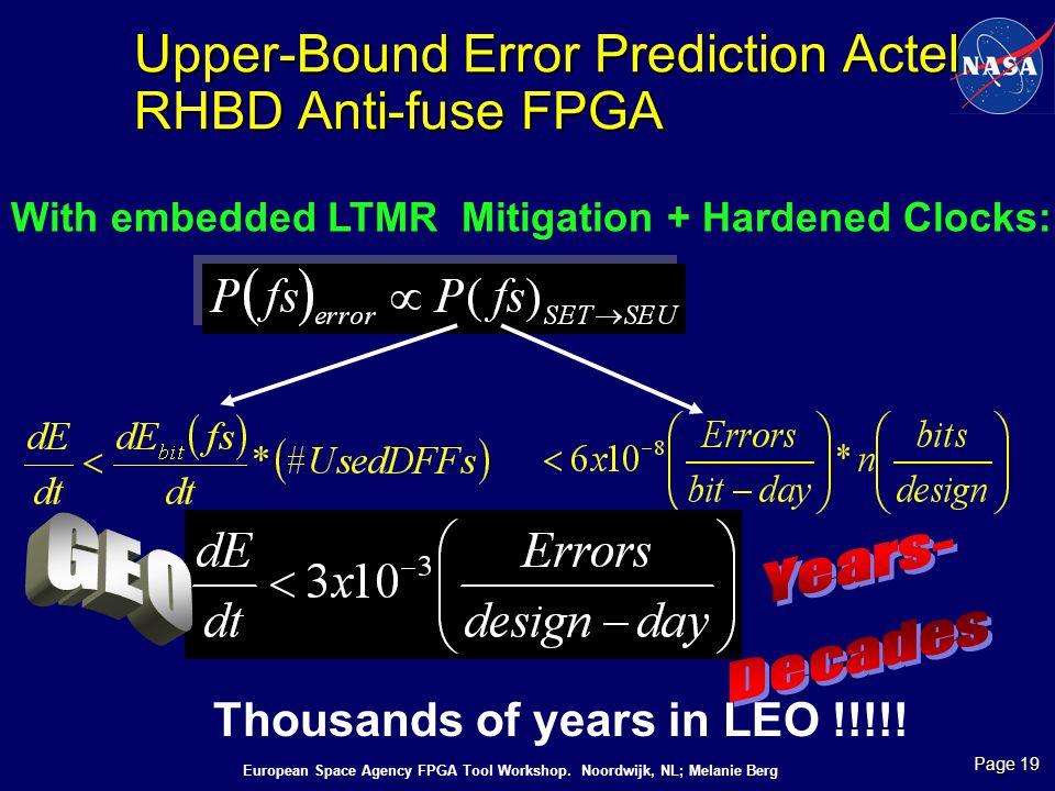 Upper-Bound Error Prediction Actel RHBD Anti-fuse FPGA