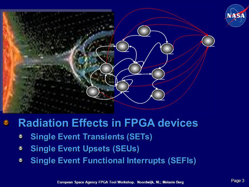 European Space Agency FPGA Tool Workshop. Noordwijk, NL; Melanie Berg