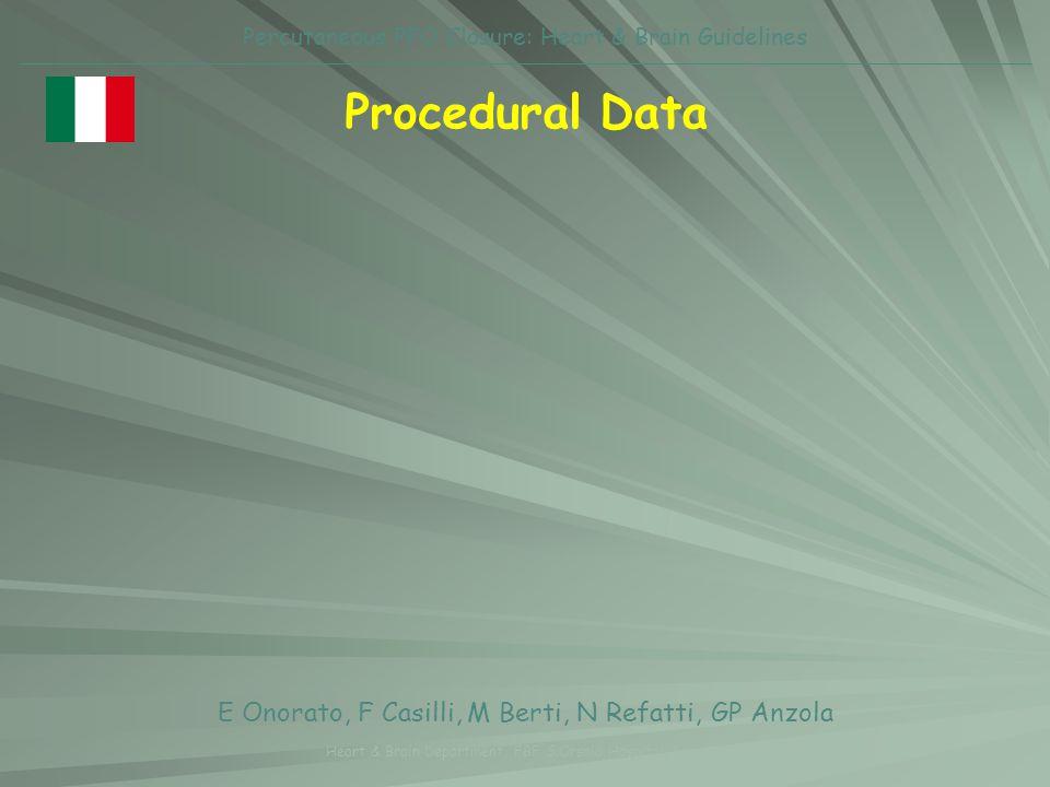 Procedural Data E Onorato, F Casilli, M Berti, N Refatti, GP Anzola