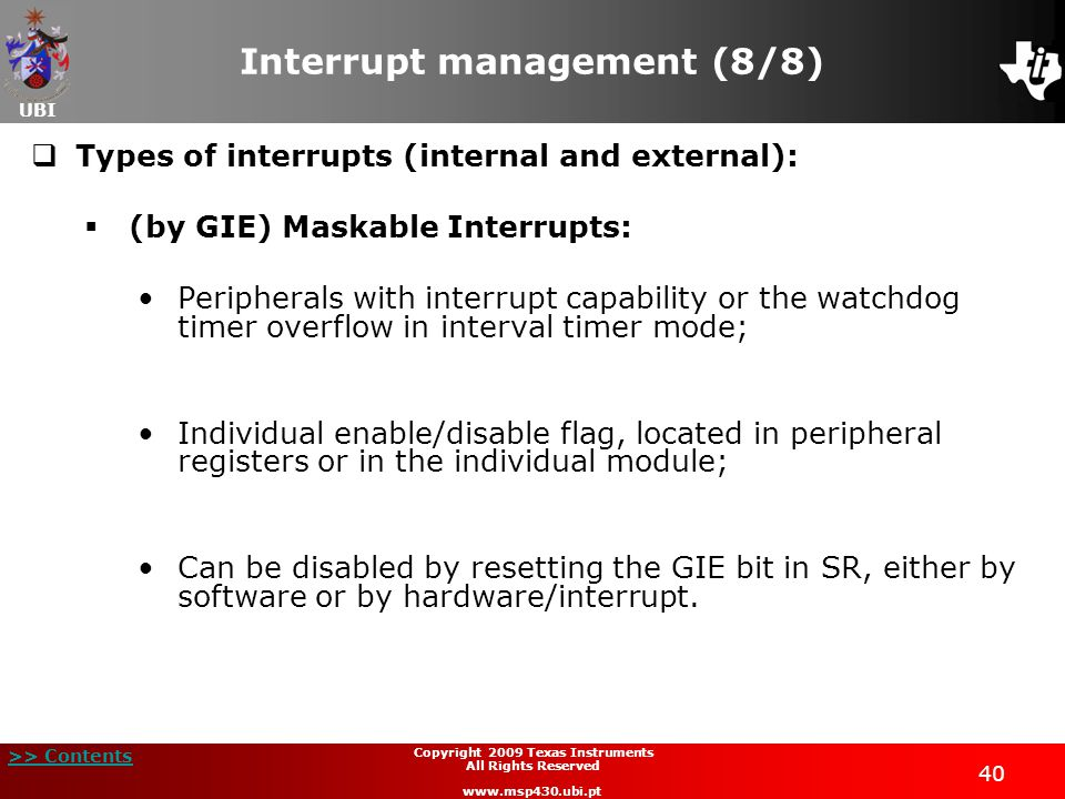 Interrupt management (8/8)