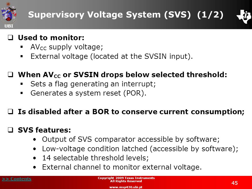 Supervisory Voltage System (SVS) (1/2)