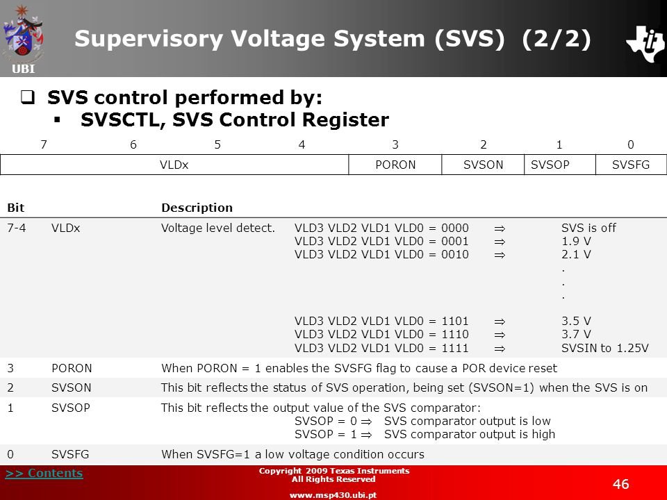 Supervisory Voltage System (SVS) (2/2)
