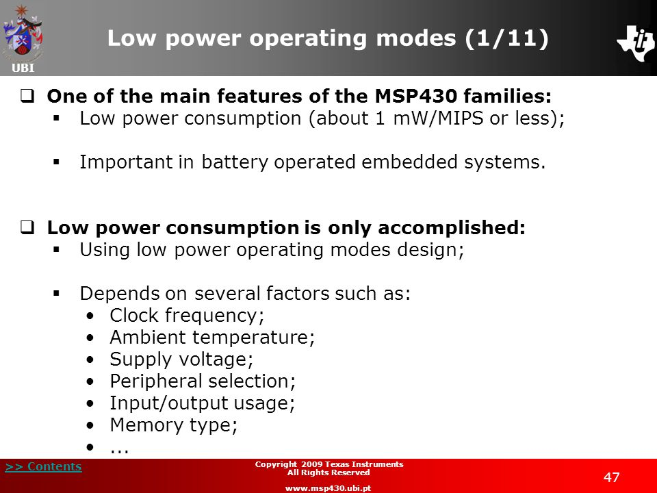 Low power operating modes (1/11)