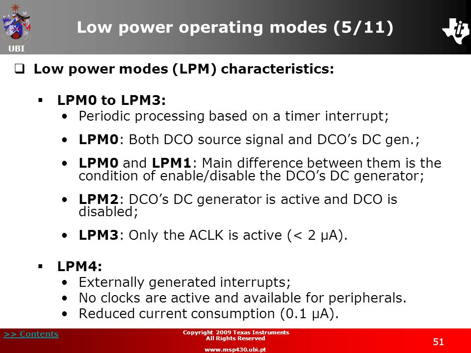 Low power operating modes (5/11)