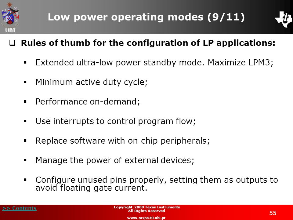 Low power operating modes (9/11)