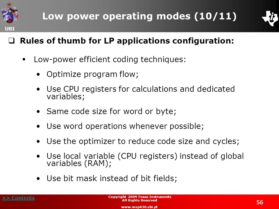 Low power operating modes (10/11)
