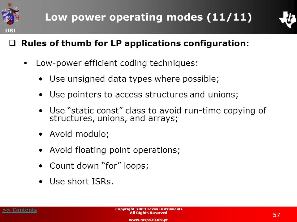 Low power operating modes (11/11)