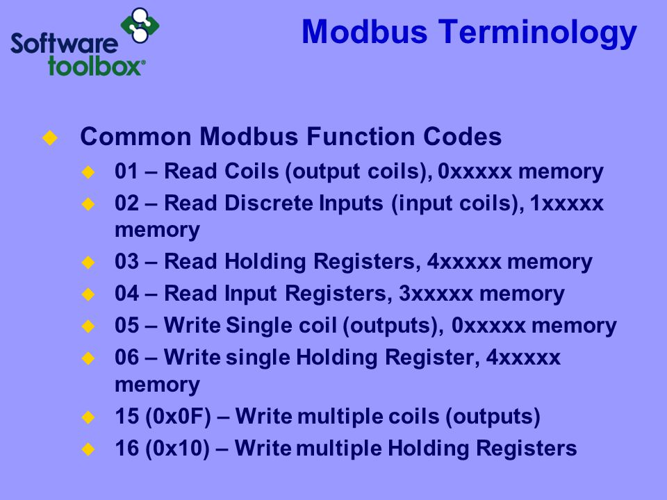 Modbus Terminology Common Modbus Function Codes