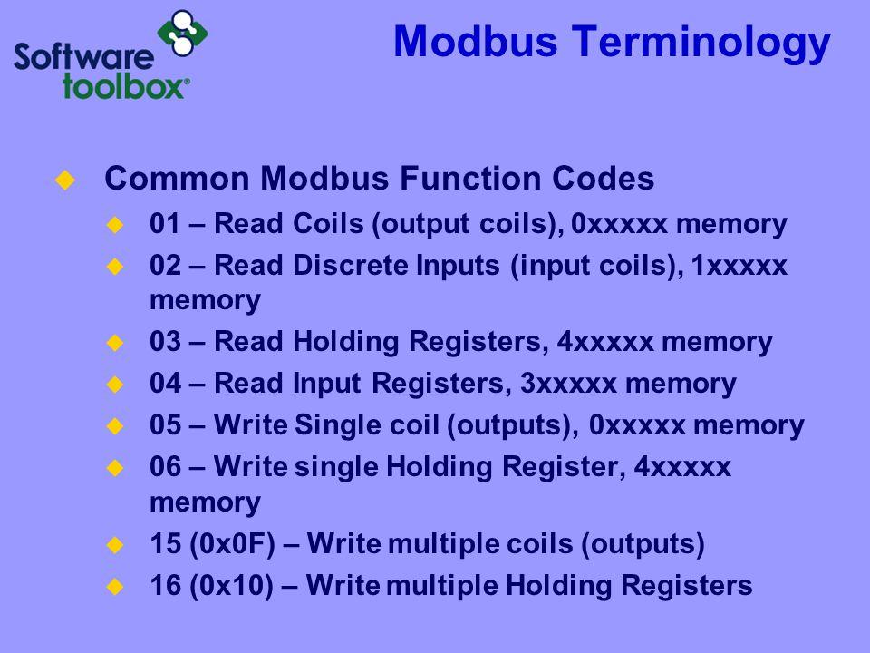 Modbus Terminology Common Modbus Function Codes