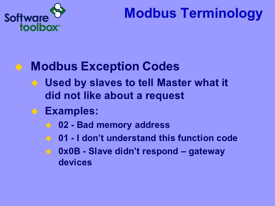 Modbus Terminology Modbus Exception Codes