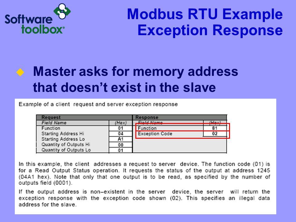 Modbus RTU Example Exception Response