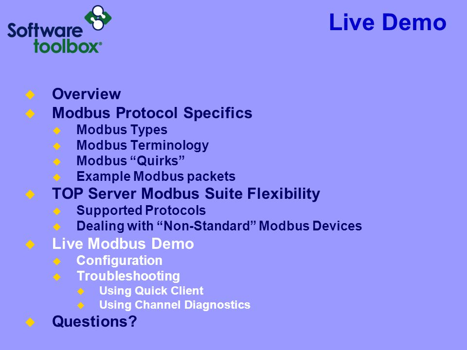 Live Demo Overview Modbus Protocol Specifics