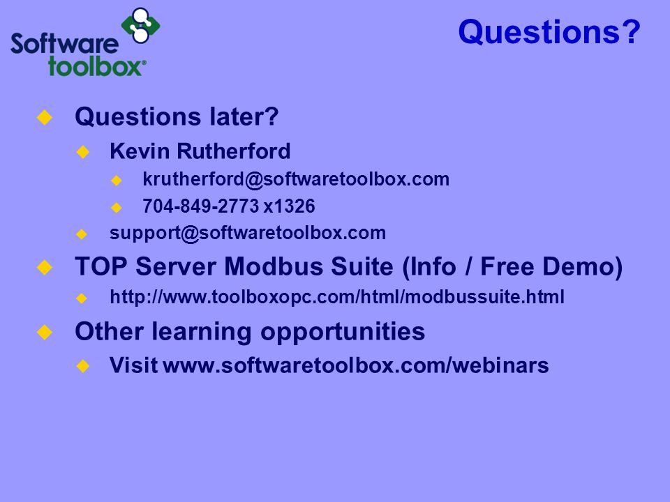 Questions Questions later TOP Server Modbus Suite (Info / Free Demo)