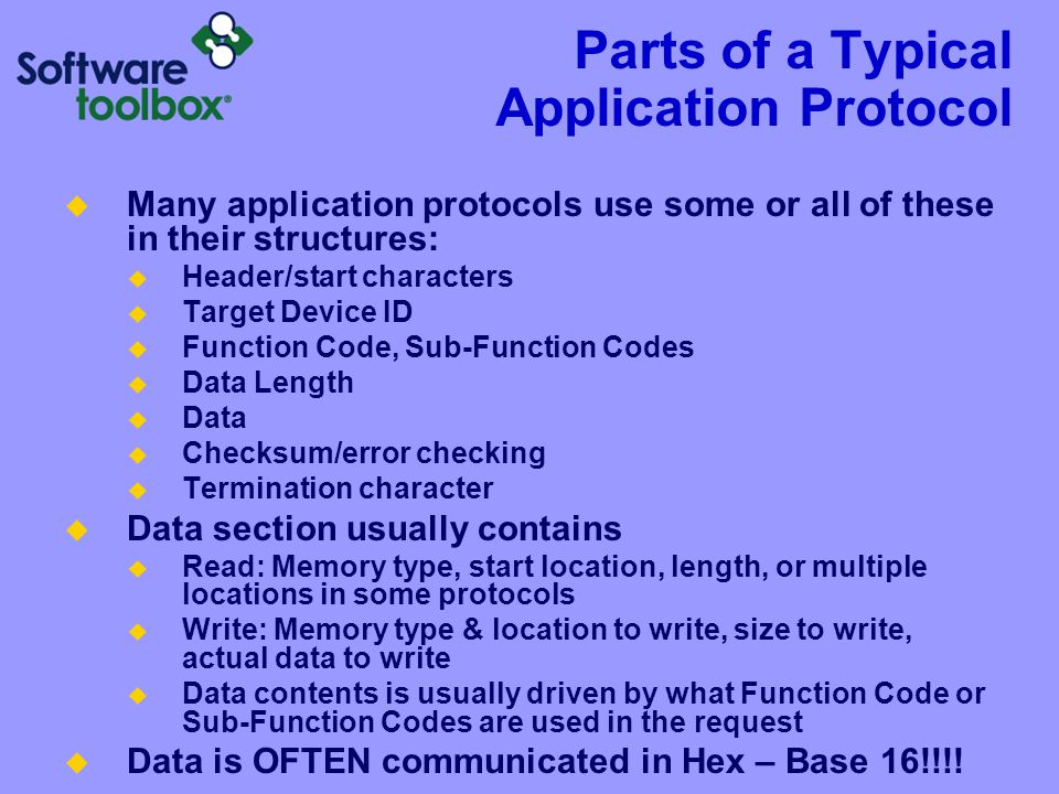 Parts of a Typical Application Protocol