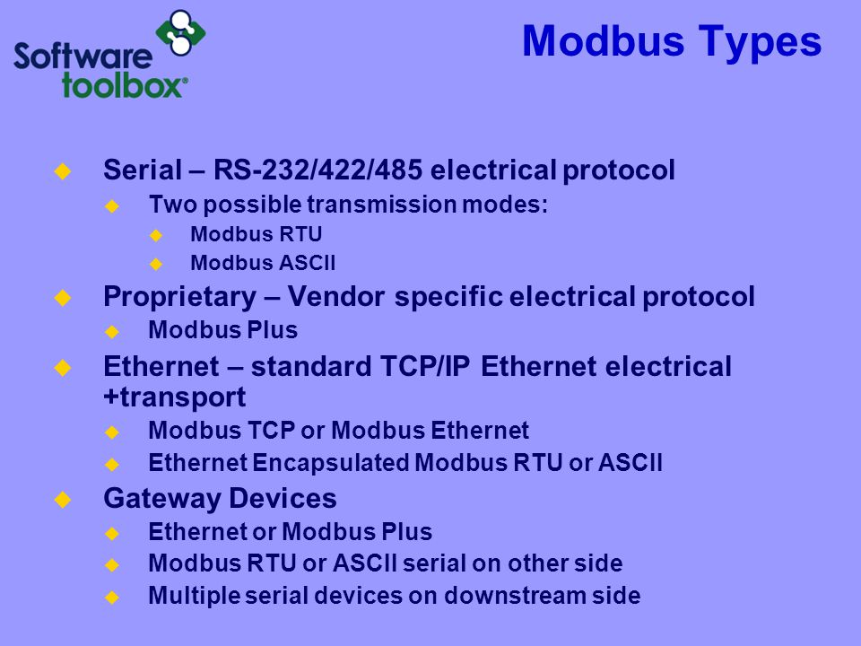 Modbus Types Serial – RS-232/422/485 electrical protocol