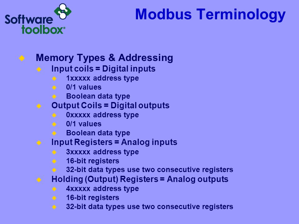 Modbus Terminology Memory Types & Addressing