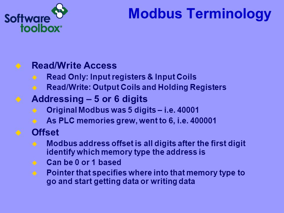 Modbus Terminology Read/Write Access Addressing – 5 or 6 digits Offset