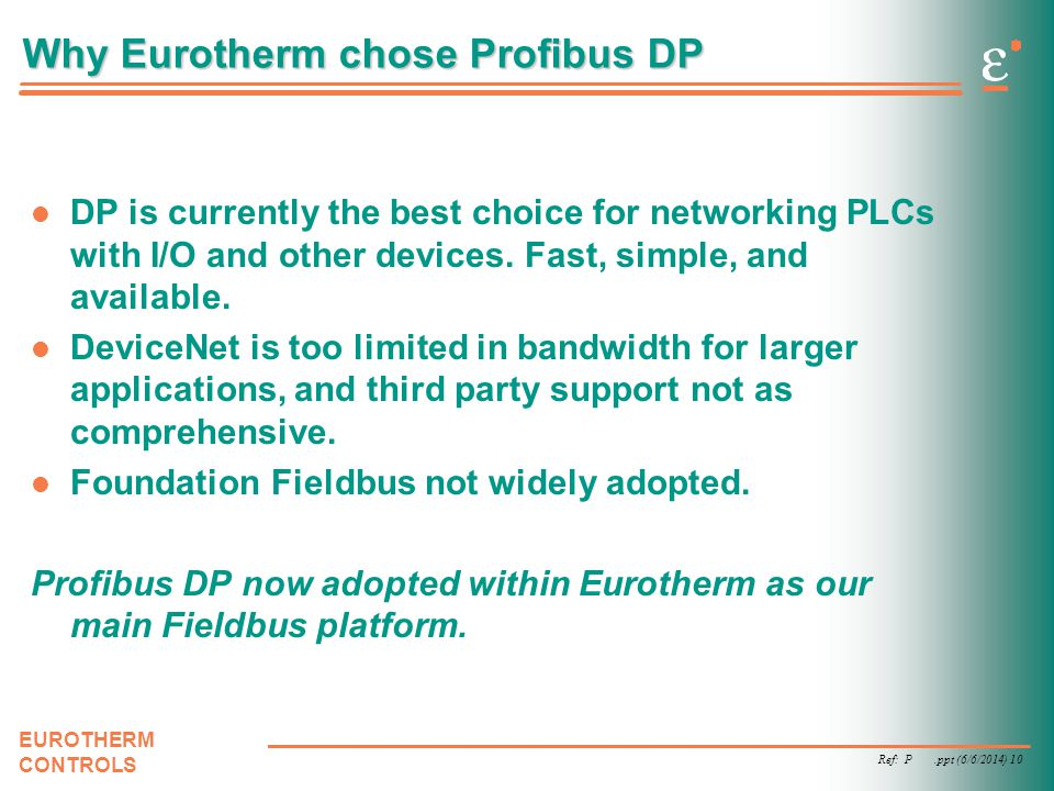 Why Eurotherm chose Profibus DP