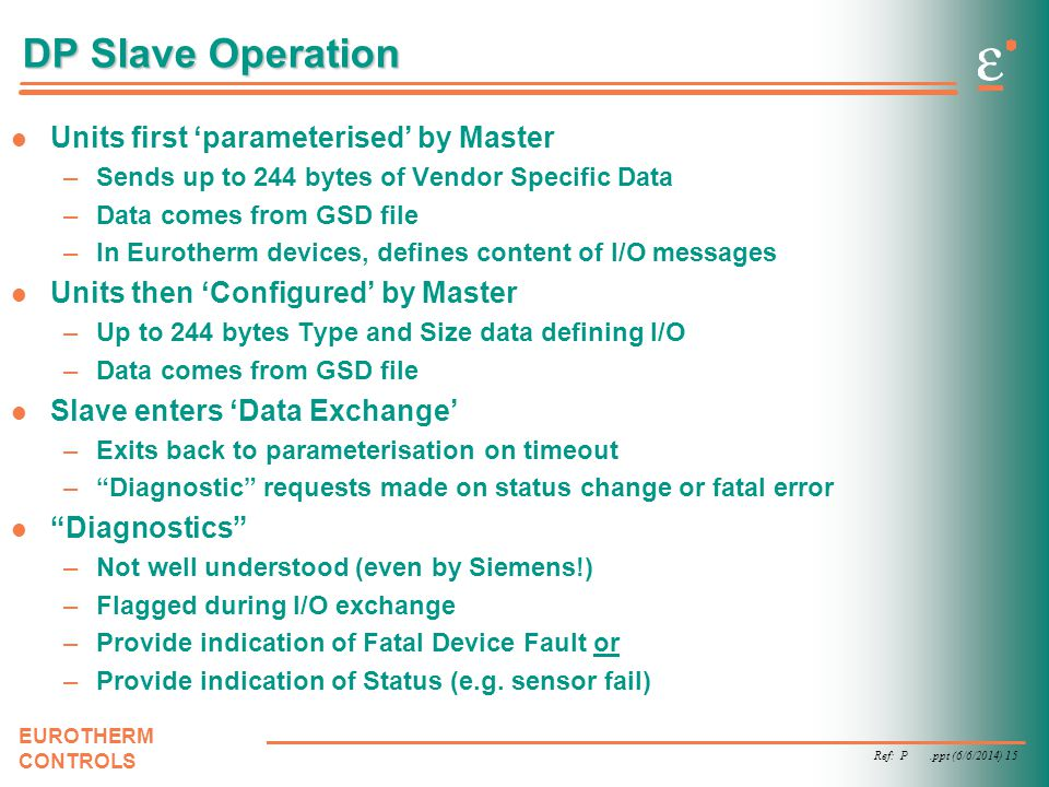 DP Slave Operation Units first 'parameterised' by Master
