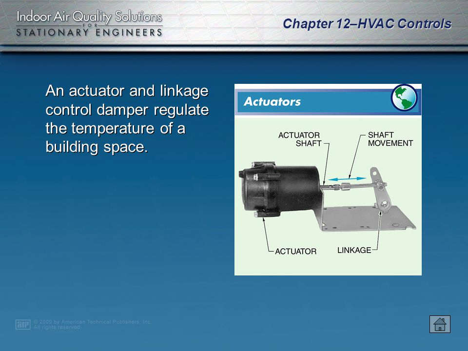 An actuator and linkage control damper regulate the temperature of a building space.
