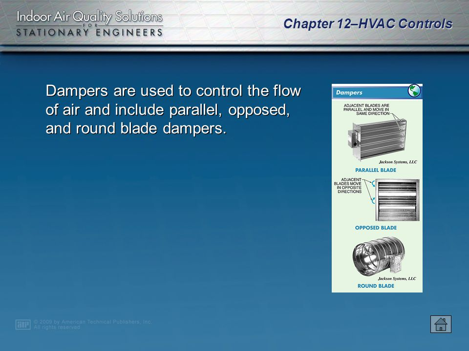 Dampers are used to control the flow of air and include parallel, opposed, and round blade dampers.