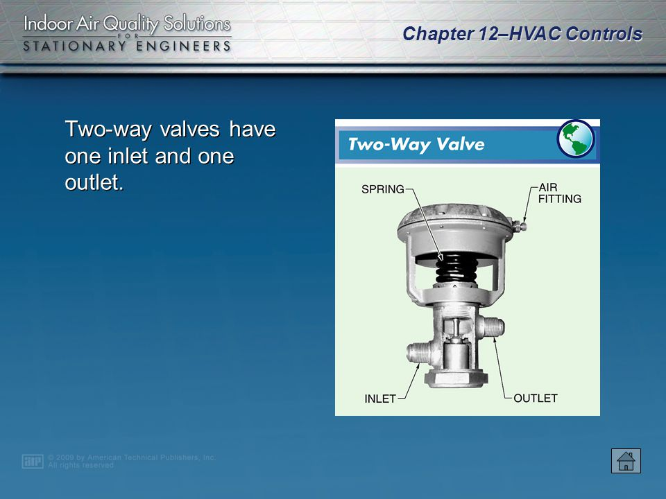 Two-way valves have one inlet and one outlet.