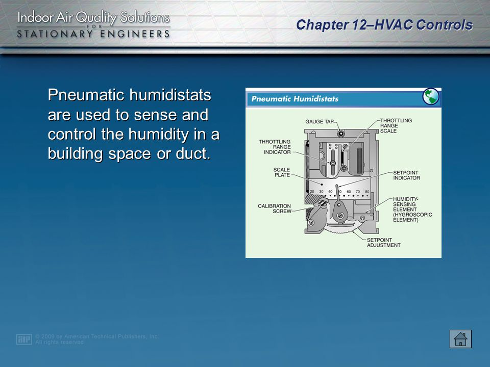 Pneumatic humidistats are used to sense and control the humidity in a building space or duct.
