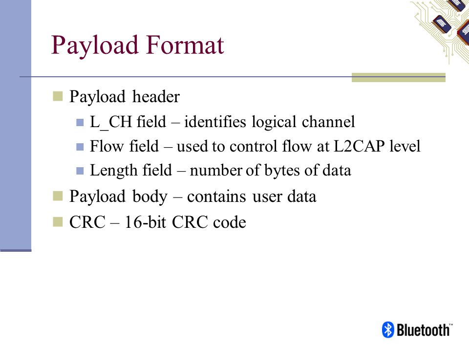 Payload Format Payload header Payload body – contains user data