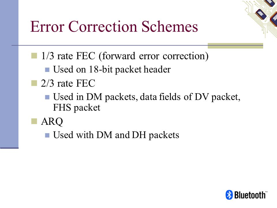 Error Correction Schemes