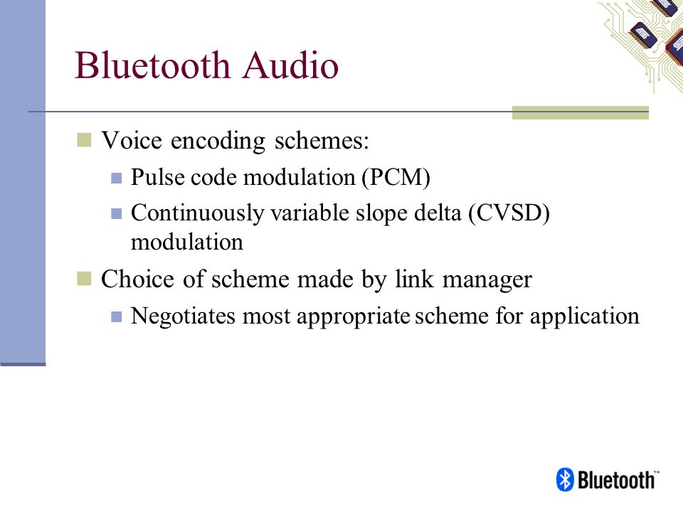 Bluetooth Audio Voice encoding schemes: