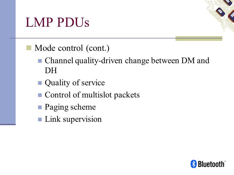 LMP PDUs Mode control (cont.)
