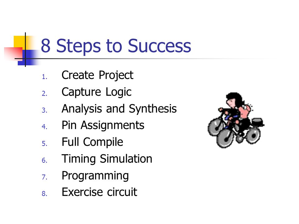 8 Steps to Success Create Project Capture Logic Analysis and Synthesis
