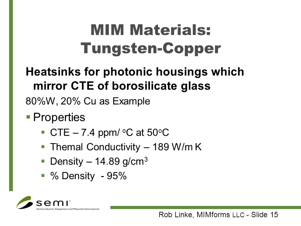 MIM Materials: Tungsten-Copper