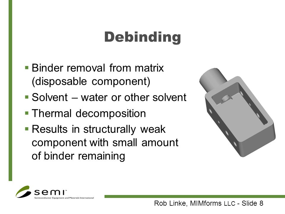 Debinding Binder removal from matrix (disposable component)