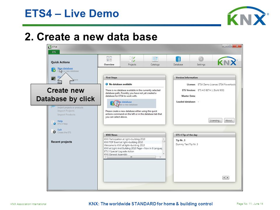 Create new Database by click