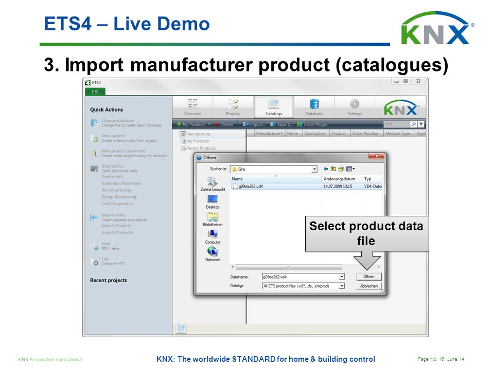 Select product data file