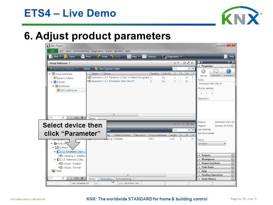 Select device then click Parameter
