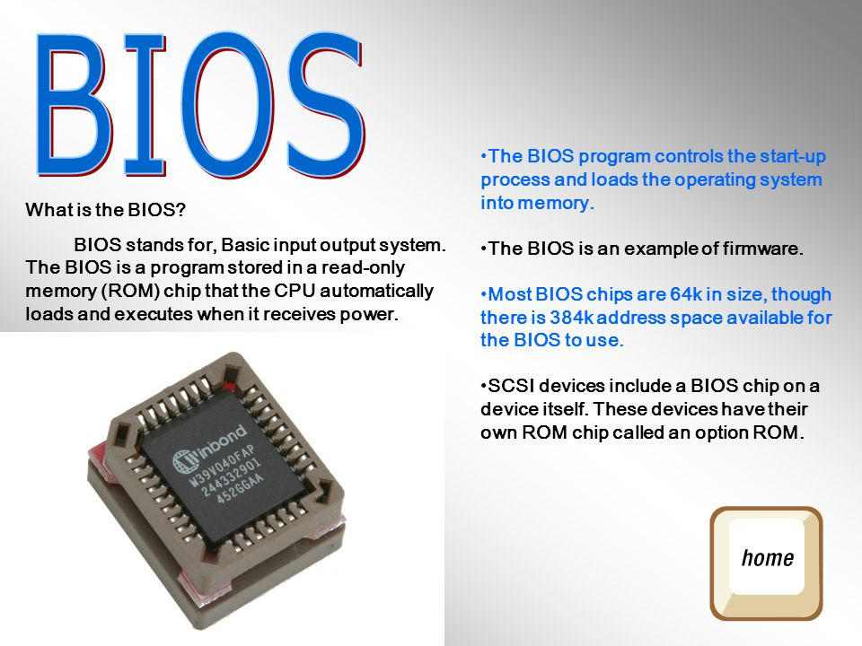 BIOS The BIOS program controls the start-up process and loads the operating system into memory. The BIOS is an example of firmware.
